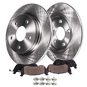 """Detroit Axle - 12.99"""" (330mm) Rear Brake Kit Rotors Set & Brake Kit Pads w/Clips Hardware Kit For Explorer Flex Taurus Lincoln MKS MKX MKT - Read Fitment Before Ordering"""