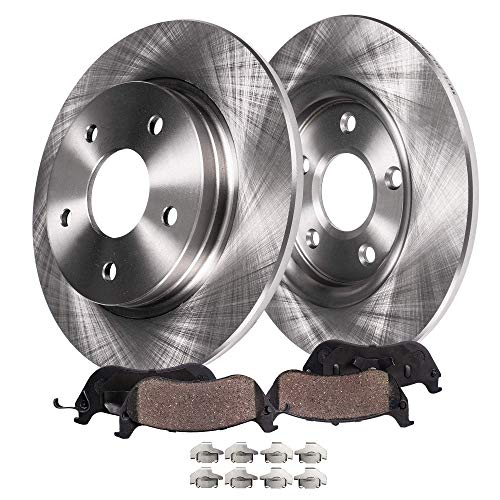 Detroit Axle - Pair (2) Rear Disc Brake Kit Rotors w/Ceramic Pads w/Hardware for 2004 2005 2006 2007 2008 Ford Escape - [2005-2009 Mazda Tribute] - 2005-2008 Mercury Mariner