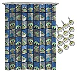 The Mandalorian The Child Shower Curtain & 12-Piece Hook Set & Easy Use - Kids Bath Features Baby Yoda (Official Star Wars Product)