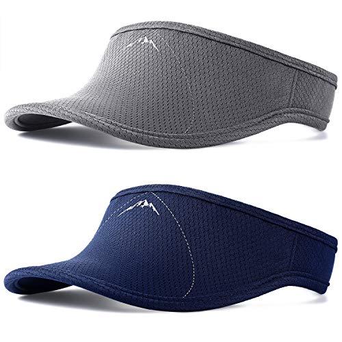 SATINIOR 2 Stücke Sonne Sport Visier Hut Mann oder Frau Einheitsgröße Verstellbare Visierkappe für Golf Laufen Joggen Tennis Wandern