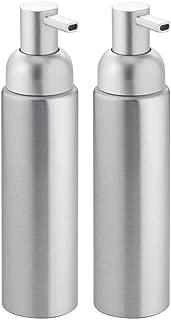 mDesign Dispensador de jabón rellenable - Dosificador de jabón líquido, en Aluminio Inoxidable - para jabón, loción, Shampoo o Gel Color Plata - Capacidad 251ml
