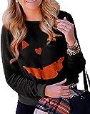Women's Funny Halloween Pumpkin Face Print Sweatshirt Slouchy Witch Shirt Long Sleeve Pullover Tops For Costume Gift(Balck-8065 L)