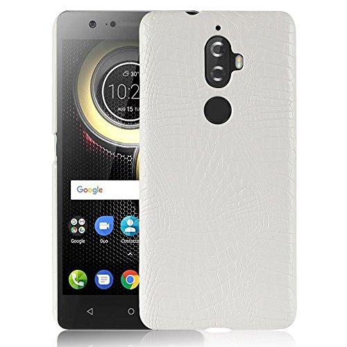 Para Lenovo K8 Plus capa de couro sintético com estampa de crocodilo (Branco)