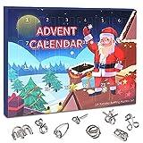 Calendario de Adviento 2021, 24pcs Rompecabezas de Alambre de Metal, Calendario de Cuenta Regresiva de Navidad, Juguetes Educativos, Regalos de Navidad para Niños y Adultos