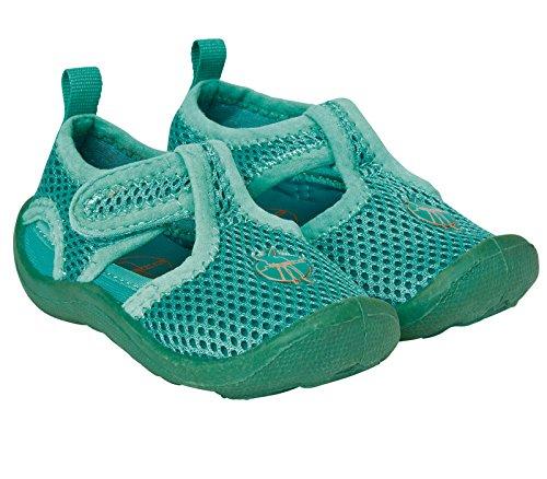 LÄSSIG Baby Kinder Badeschuhe Strandschuhe Schwimmschuhe Atmungsaktiv Anti-Rutsch Sohle Klettverschluss/Beach Sandals, Lagoon, Schuhgröße: 18, grün