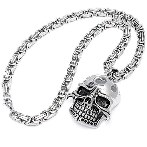 Schmuck-Checker XXL Totenkopf Anhänger Edelstahl Silber groß dick schwer massiv Schädel Skull Königskette Bikerschmuck Rockerschmuck