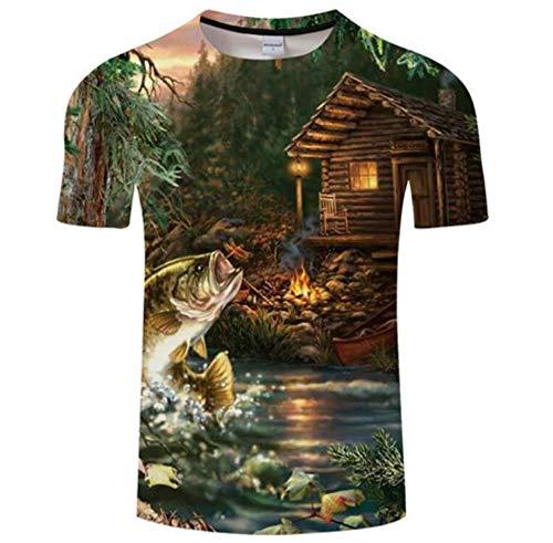 WYRRIG Paesaggio del Lago di Pesce Capanna Magliette Personalizzate da Uomo Casual Girocollo Manica Corta Estate Magliette Personalizzate,3XL