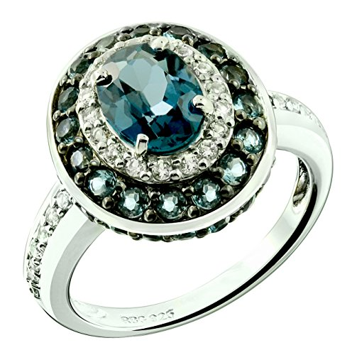 RB Gems Sterling Silver 925 Ring GENUINE GEMS Oval 8x6 mm, Rhodium-Plated Finish, Classic Style (london-blue-topaz, 5)