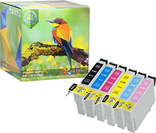 Ink Hero Paquete de 6 Cartucho Epson Stylus Photo R200 R220 R300 R300M R320 R330 R340 R350 RX300 RX320 RX500 RX600 RX620 RX640 48 T0487 T0481 T0482 T0483 T0484 T0485 T0486 81
