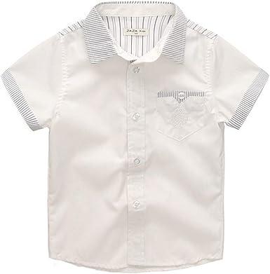 ALLAIBB Niño niños Camisa Blanca Manga Corta Camisa de ...