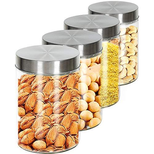 4 PCS Tarros De Cristal Con Tapa De Acero Inoxidable, 1.25L Botes Recipientes Para Alimentos Hermeticos De Vidrio Para Cocina, Almacenaje De Legumbres, Galletas, Espaguetis (4PCS, 1.25L)