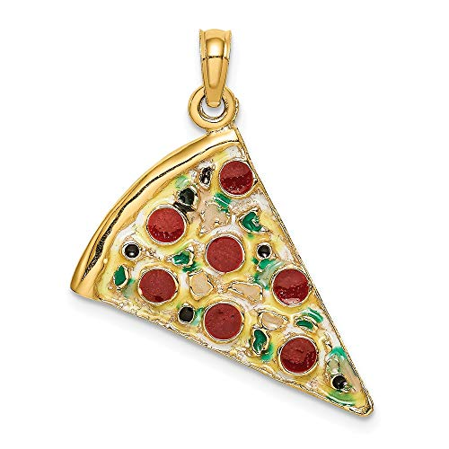 14k Yellow Gold Enamel Large Pepperoni Pizza Slice Necklace Pendant Charm Food Drink Fine Jewellery For Women Gifts For Her
