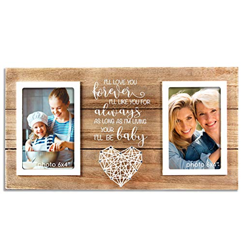 VILIGHT Mother Daughter Picture Frame - Mothers Day and Birthday Gifts for Mom - Forever Your Baby I'll Be - Holds 2 4x6 Photos