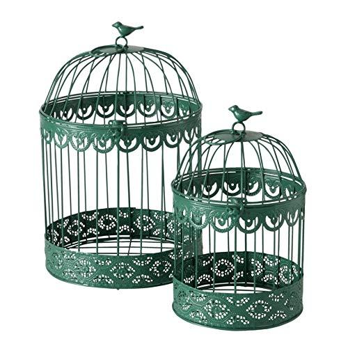 Juego de 2 jaulas decorativas de metal, color verde, altura 30-40 cm
