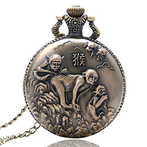 IOMLOP Reloj de bolsilloReloj de Bolsillo de Cuarzo con diseño de Serie del Zodiaco Chino de Bronce Antiguo, Reloj de Animales, Collar, Colgante, Regalo, Reloj Antiguo, Cadena Fob