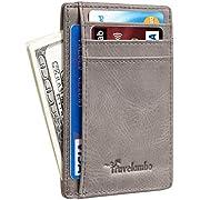 Travelambo Front Pocket Minimalist Leather Slim Wallet RFID Blocking Medium Size(VT Grey Deep P)