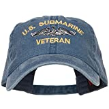 e4Hats.com US Submarine Veteran Military Embroidered Washed Cap - Navy OSFM