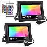 Novostella Ustellar Lot de 2 Projecteurs LED RGB 60W Extérieur, 16 Couleurs 4 Modes,...