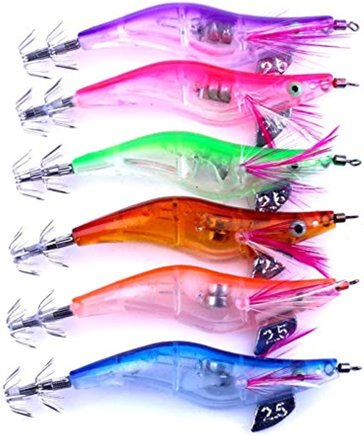 Generic 6pc LED Fishing Lure Electronic Light Prawns Curls Squid Jigs Bait Bass Lure Fish Equipment Lure Set  4AP18 Multi