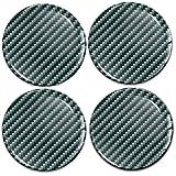 Biomar Labs® 4 x 60mm Aufkleber 3D Silikon Schwarz Silber Design Kohlenstoff Carbon Für Radkappen...