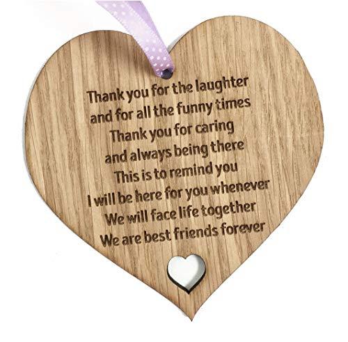 Cuore in legno con frasi sull'amicizia, per migliori amici
