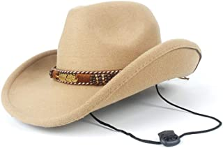SAIPULIN-AU 2019 Winter Outdoor Casual Wild Hat Men Women Wool Western Cowboy Hat with Belt Adult Church Hat Size 56-58CM (Color : Khaki, Size : 56-58)