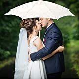 AUNMAS Lace Flower Parasol Floral Embroidery Umbrella Wedding Bride Photography Prop Dancing Accessories Stage Performance Supplies(3#)