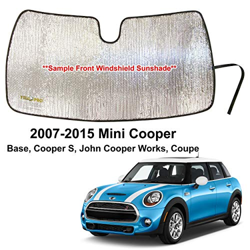 YelloPro Custom Fit Automotive Reflective Front Windshield Sunshade Accessories UV Reflector for 2007 2008 2009 2010 2011 2012 2013 2014 2015 Mini Cooper Base, Cooper S, John Cooper Works Coupe