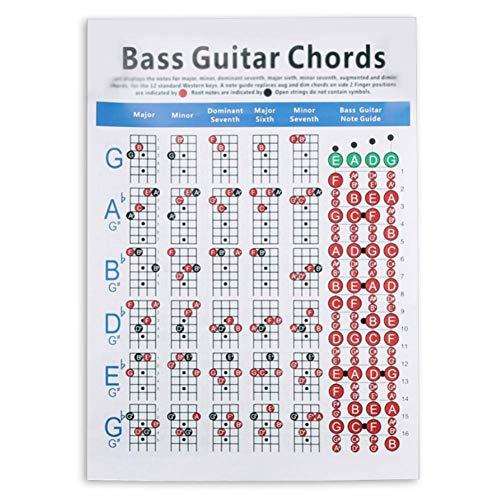 Eillybird 4-snarige E-Bass Accord, spectrum akkoorden vingerset oefeningendiagram noten E-gitaar akkoorden poster sticker