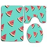 N\A Patrón de Frutas Coloridas de rodajas de sandía Fresca en Azul Alfombrillas de baño Set de 3 Piezas Alfombras de baño de Ducha Alfombra de Contorno Tapa de la Tapa