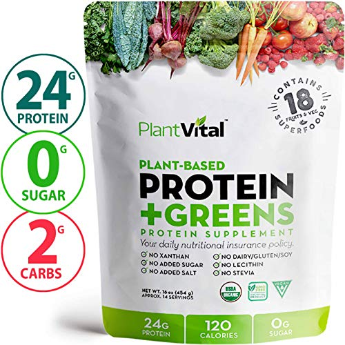New! Plant Based Protein Powder w 18 Superfoods, Veggies & Probiotics: Kale, Beets, Spirulina & More. Vegan, All BCAA's, Organic, Non-GMO, Gluten Free
