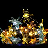HDNICEZM Dragonfly Decorative String Light,14.1Ft 40 Warm White LED Waterproof Battery Operated with Remote Timer Dragonfly String Light for Bedroom Wedding Holiday Party Garden Indoor Outdoor Deco
