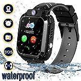 Smartwatch Kinder Wasserdicht mit LBS Tracker Telefon Uhr Kinder Smart Watch für 3-12ans Junge Mädchen Geschenk (Black)