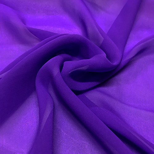 Silk Georgette Chiffon Fabric Solid 100% Silk 10mm 44' Wide Sold BTY Many Colors (Purple)