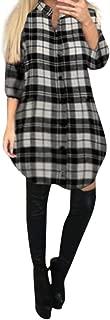 Overdose Vestido De La Camisa del BotóN De La Manga Larga De Las SeñOras del Vestido Mini De La Camisa del Remiendo De La Tela Escocesa Roja