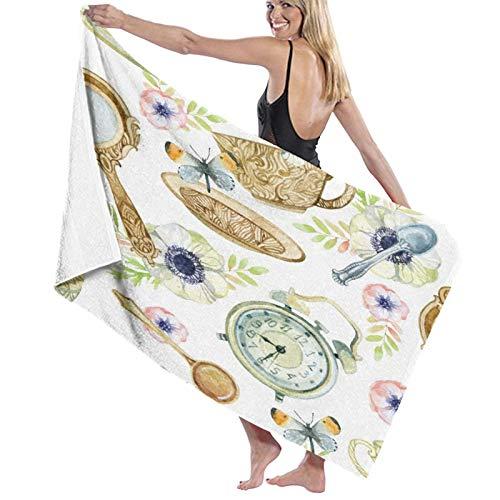 Toallas de baño,Taza De Té De Acuarela con Cuchara Espejo Despertador Flores Y Vajilla De Mariposa,Manta Suave de Las Toallas de Playa de la Microfibra para el Viaje de la Piscina del baño