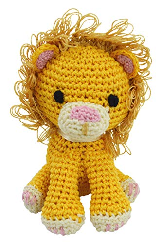 PETFLY Dog Teeth Cleaning Organic Cotton Crochet Squeaky Dog Toy for Small Dog - Lion