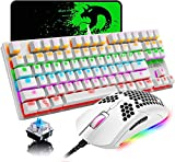 Wired Gaming Keyboard and Mouse Combo, 87 Keys Rainbow Backlit Compact Mechanical Keyboard,RGB Backlit 6400 DPI Lightweight Gaming Mouse with Honeycomb Shell for Windows PC Gamers
