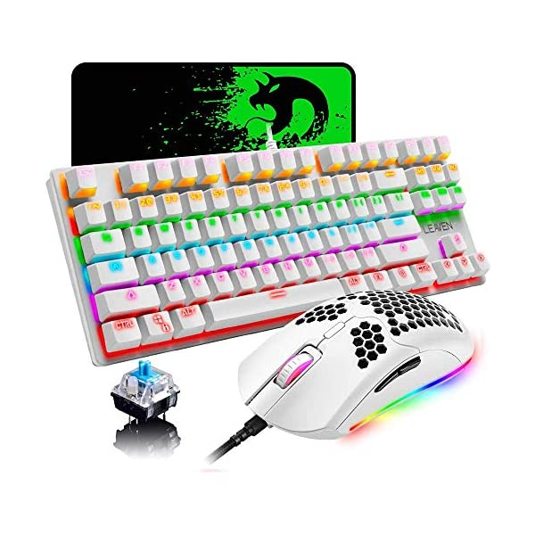 Wired Keyboard and Mouse Combo,87 Keys Compact Multicolour Backlit Keyboard and 6...