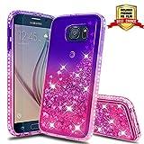 Atump Galaxy S6 Case, Samsung Galaxy S6 Glitter Cases with HD Screen Protector, Fun Glitter Liquid Sparkle Diamond Cute TPU Silicone Protective Phone Cover Case for Samsung Galaxy S6 Purple/Rose