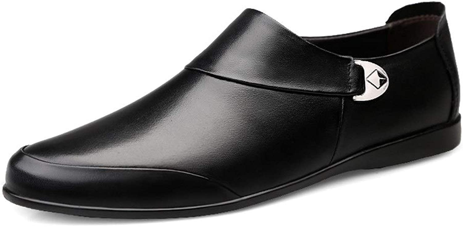 Mens loafers Flats Mens Flat Slip-on Loafers Fashion Oxford shoes For Men Comfortable Soft Genuine Leather Business Dress Wedding Lightweight Anti-slip Round Toe (color   Black, Size   9.5 UK)