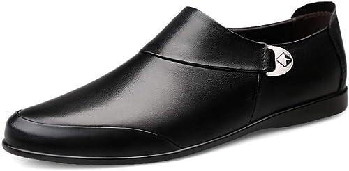 EGS-chaussures Hommes Confortable Doux en Cuir Véritable Robe De Mariée Mocassins Légers Anti-dérapant Plat Slip-on Bout Rond Oxford Chaussures Chaussures de Cricket (Couleur   Noir, Taille   45 EU)