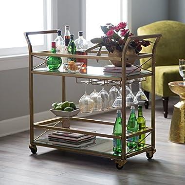 Home Collection Modern Glam Gold Metal Glass Serving Cart Buffet Server Mobile Bar Cart