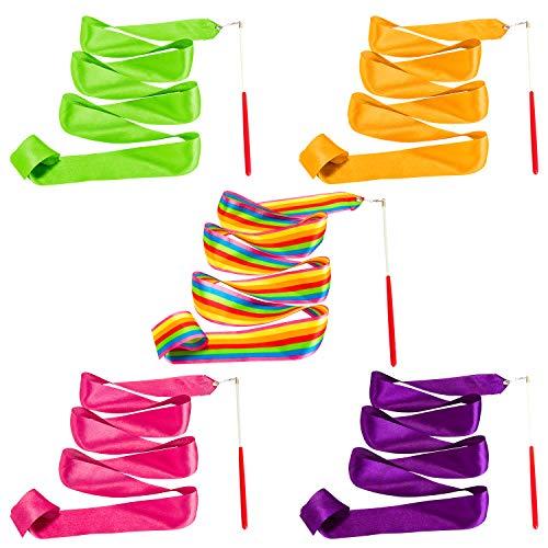 Whaline - Confezione da 5 nastri da danza, multicolori, per ginnastica, ritmica, bacchette di nastro per bambini, palestra, allenamento, circo, 2 m (arcobaleno, rosa, arancione, viola, verde)