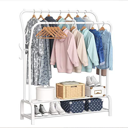 YAYI Garment Rack Drying Rack Freestanding Hanger Double Rails Bedroom Clothing Rack With 2-Tier Lower Storage Shelf,White