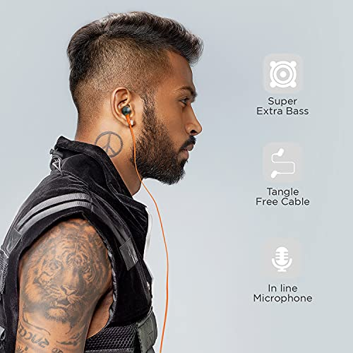 boAt Bassheads 225 in Ear Wired Earphones with Mic(Molten Orange)