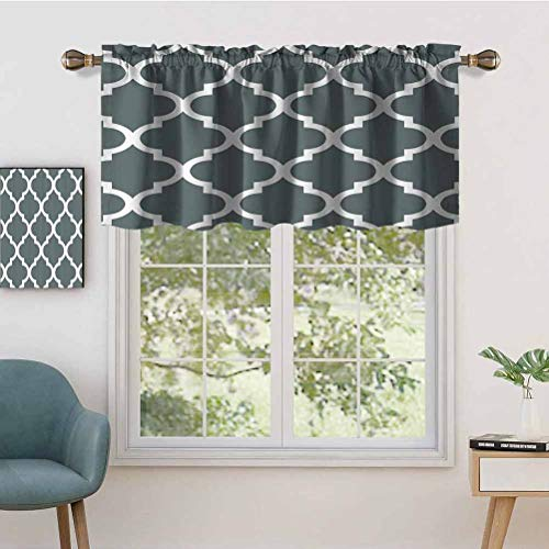 Hiiiman Indoor Privacy Window Valance Curtain Panel W36 x L36 Rectangle Desk Cloth, Set of 1, 50'x18' for Sliding Patio Door/Dining