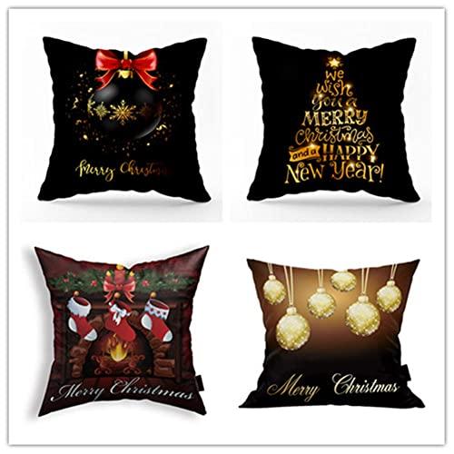 Fundas de Cojines 50x50cm Juego de 4,Navidad Negra Cojines Sofa Fundas de Cojín Decorativas Cuadradas de Lino ,para Sofá...