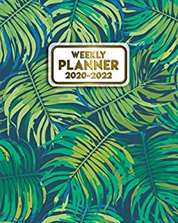 Weekly Planner 2020-2022: Tropical Three Year Daily Planner & Schedule Agenda with Weekly Spread Views | 3 Year Organizer with Notes, Vision Boards, Inspirational Quotes & More | Vintage Fern Leaves