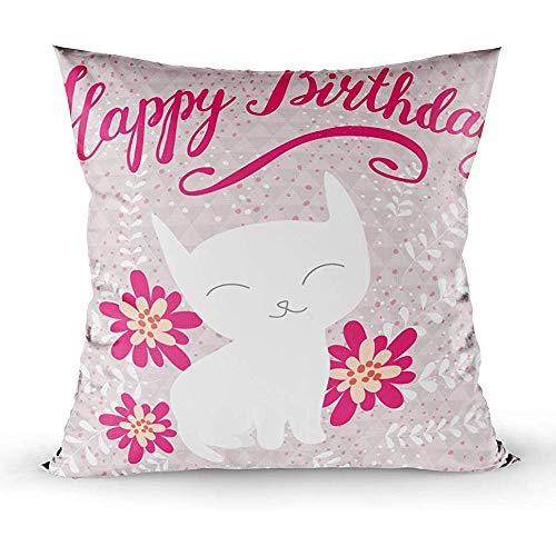 Ruthxiaoliang Kissenbezüge Home Kissenbezüge Animal Art Hintergrund Geburtstagskarte Cartoon Katze Feier Cute Design Doodle Zeichnung flo